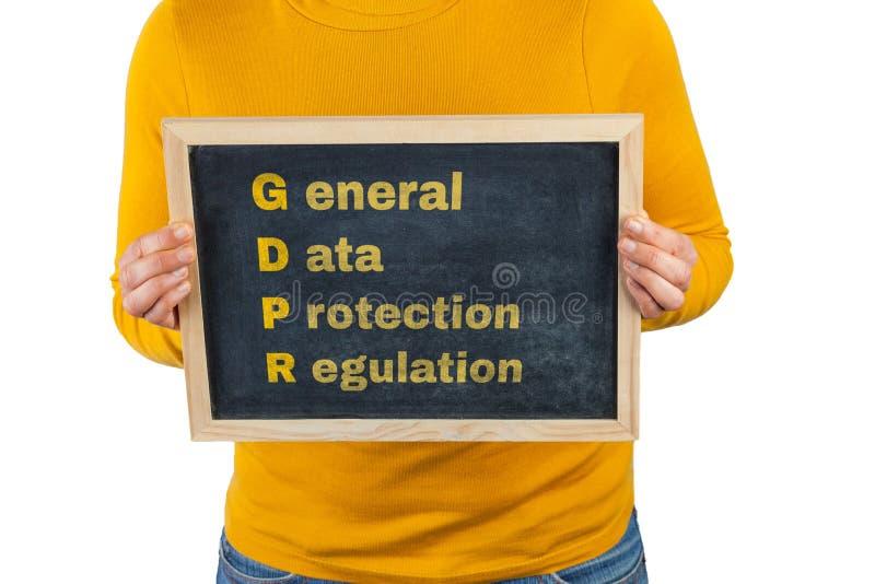 Segno con il testo generale di regolamento di protezione dei dati immagine stock