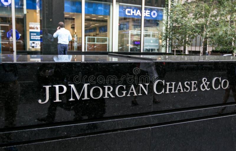 Segno corporativo del JP Morgan Chase fotografia stock libera da diritti