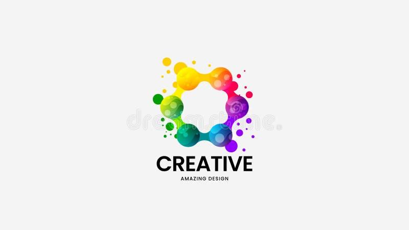 Segno corporativo di logo di vettore organico astratto Insieme multicolore dell'illustrazione dell'emblema del logotype Pacco nat royalty illustrazione gratis
