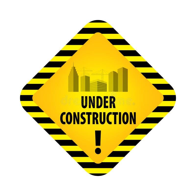 Segno in costruzione su fondo bianco Illustrazione di vettore per il sito Web Rombo in costruzione con lo streptococco nero e gia illustrazione di stock
