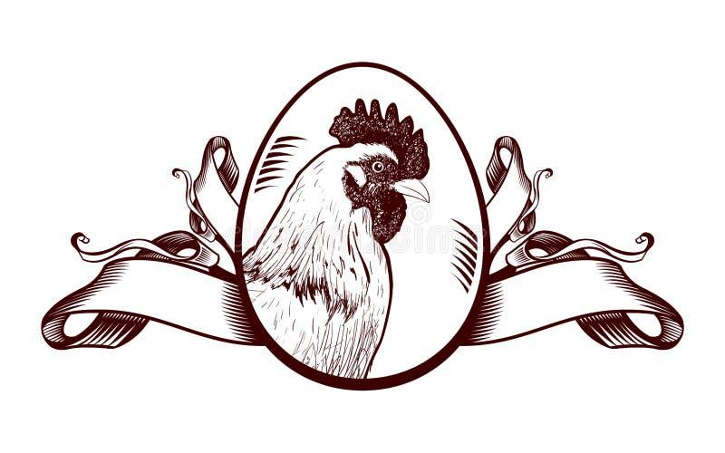 Segno d'annata con la gallina illustrazione di stock