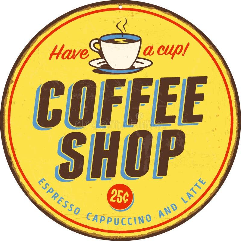 Segno d'annata del metallo - caffetteria illustrazione vettoriale