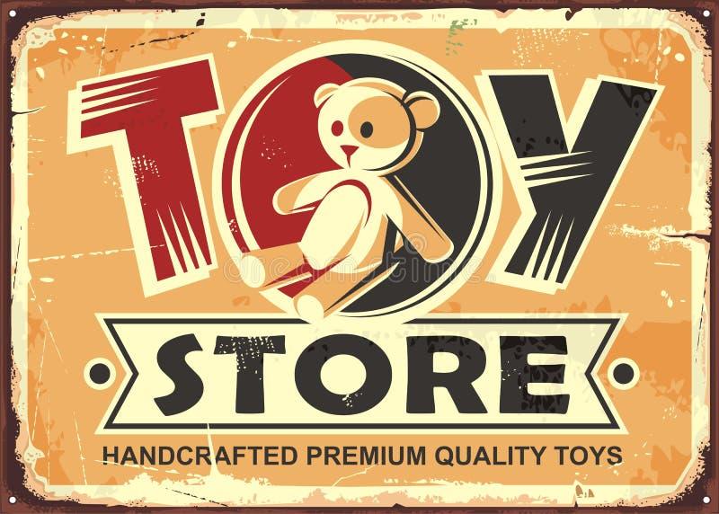 Segno d'annata del metallo del deposito di giocattolo illustrazione di stock