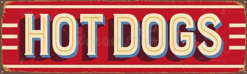 Segno d'annata del metallo - hot dog illustrazione di stock