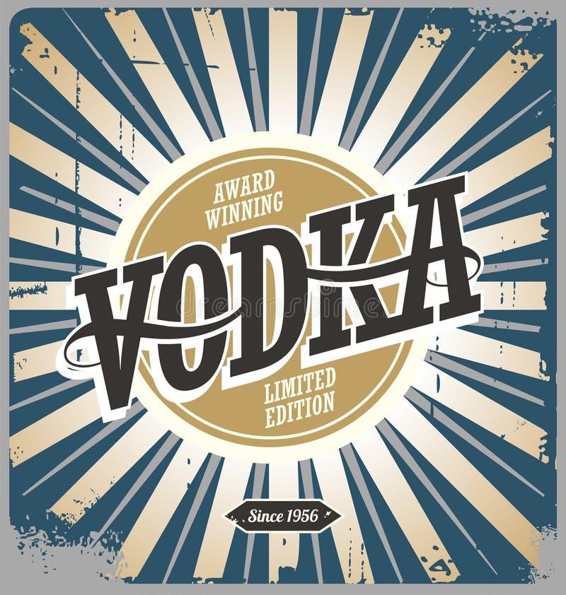 Segno d'annata della latta della vodka illustrazione vettoriale
