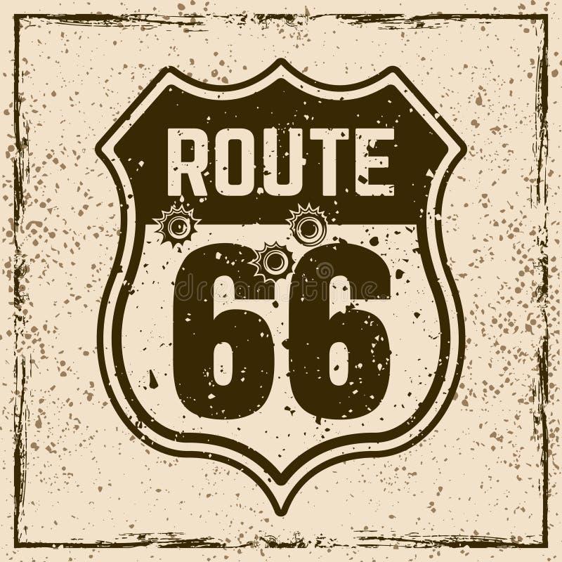 Segno d'annata della strada di Route 66 con i fori di pallottola illustrazione di stock