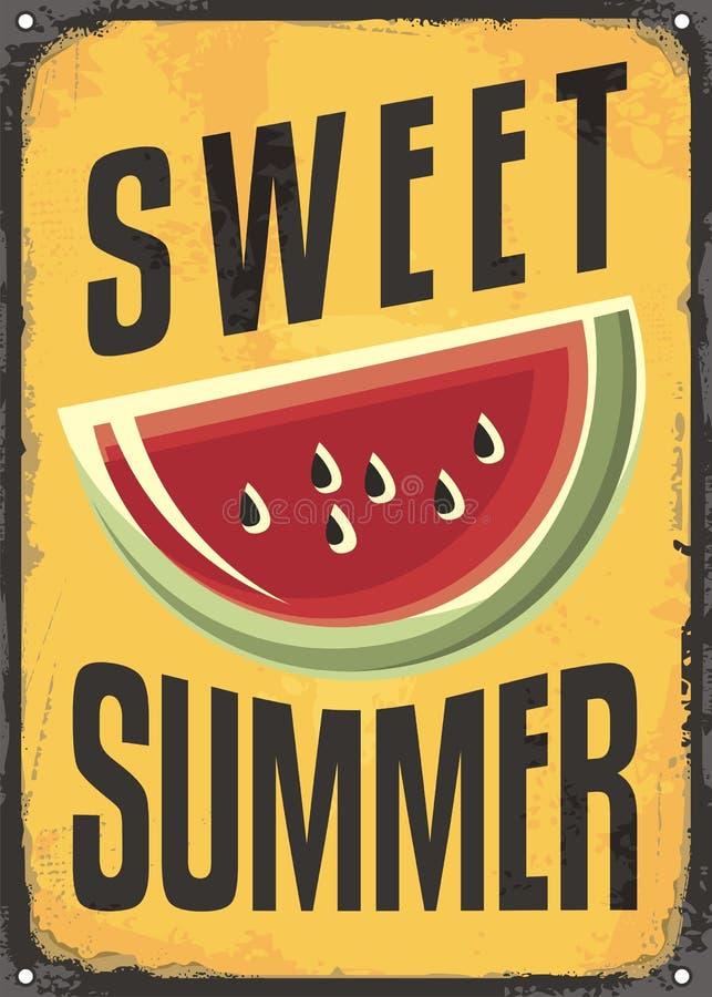 Segno d'annata di estate dolce illustrazione di stock