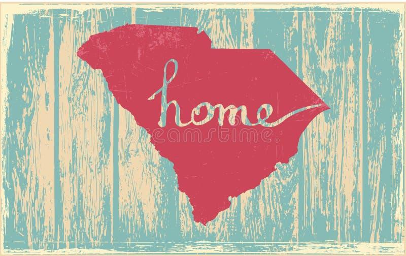 Segno d'annata rustico nostalgico di vettore di stato di Carolina del Sud illustrazione vettoriale