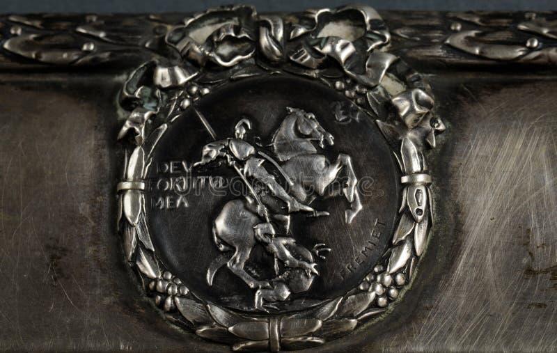 Segno d'argento inciso immagini stock