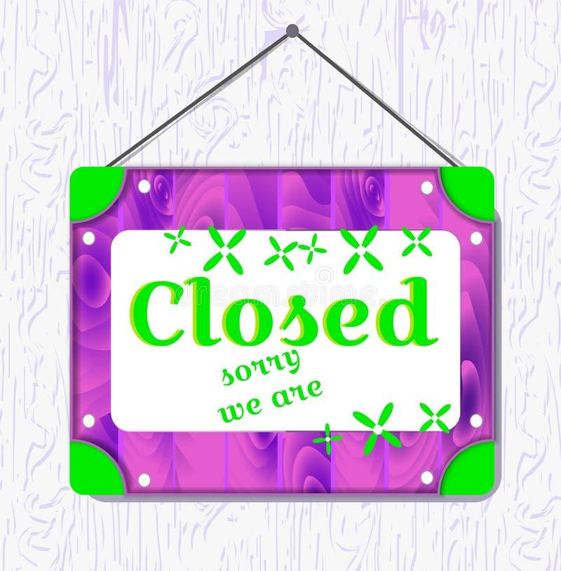 Segno d'attaccatura del fiore verde e di legno viola con testo chiuso Contenitore bianco di confine Illustrazione di vettore royalty illustrazione gratis