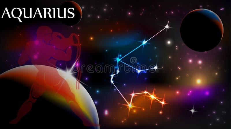 Segno del Aquarius e spazio astrologici della copia illustrazione di stock