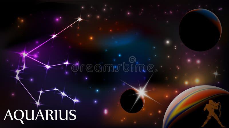 Segno del Aquarius e spazio astrologici della copia royalty illustrazione gratis