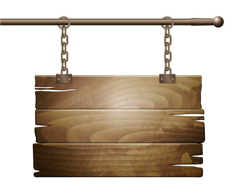 Segno del bordo di legno di vettore royalty illustrazione gratis