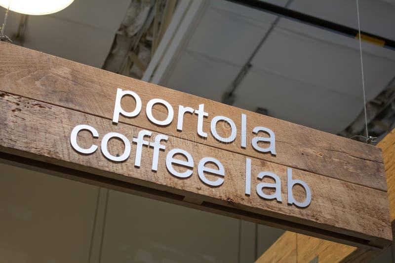 Segno del caffè del laboratorio del caffè di Portola immagini stock libere da diritti