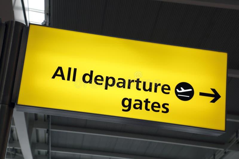 Segno del cancello di partenza dell'aeroporto immagini stock libere da diritti