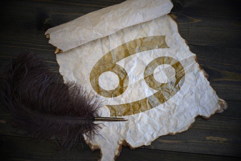 Segno del Cancro dello zodiaco su carta d'annata con la vecchia penna sullo scrittorio di legno immagine stock libera da diritti