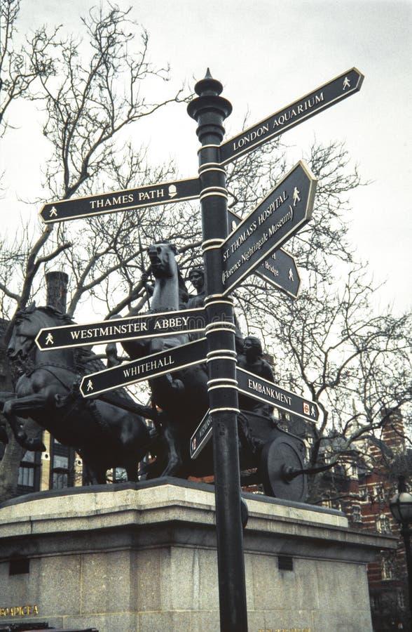 Segno del cartello della via di Londra con le direzioni ai punti di riferimento del ` s di Londra fotografia stock
