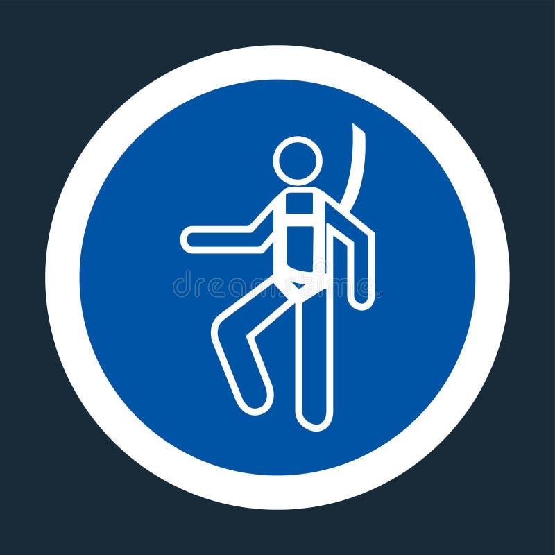Segno del cavo di sicurezza di usura di simbolo su fondo nero, illustrazione di vettore illustrazione vettoriale