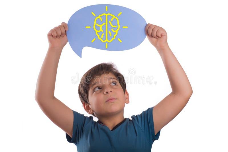 Segno del cervello di incandescenza sulla bolla di pensiero immagine stock libera da diritti
