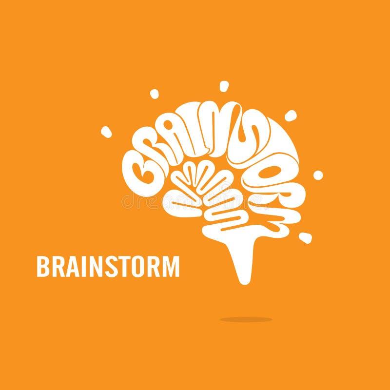 Segno del cervello e concetto creativi di lampo di genio Vettore di logo del cervello royalty illustrazione gratis