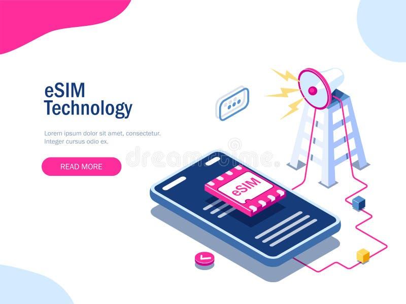 Segno del chip della carta di ESIM Concetto della torre di GSM Carta SIM futuristica della proiezione Tecnologia moderna di telec royalty illustrazione gratis