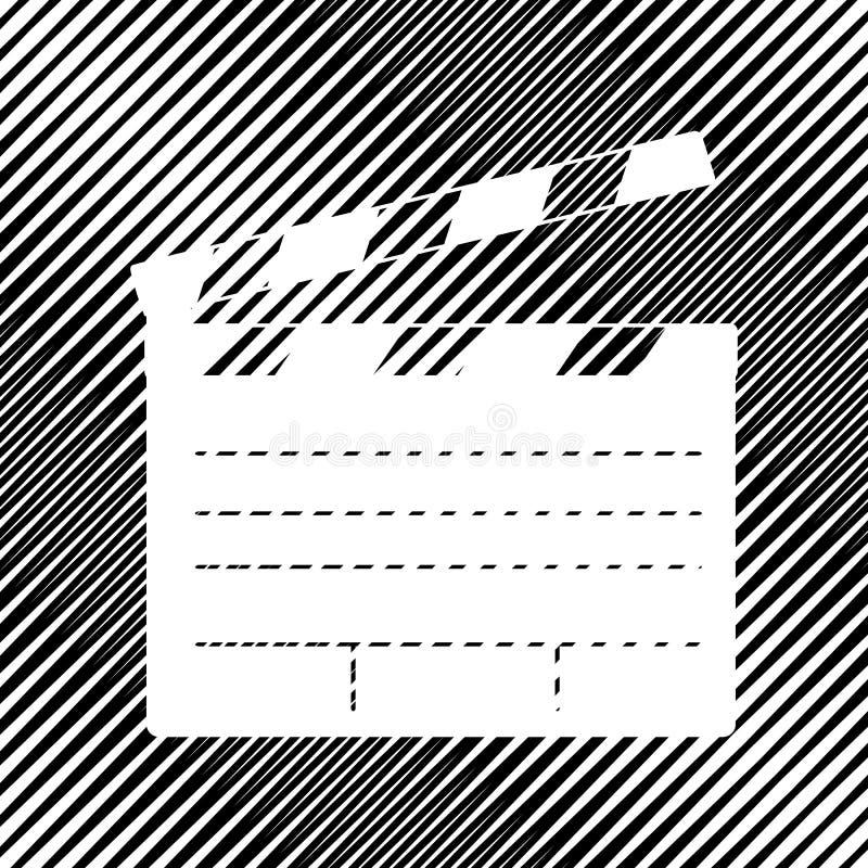 Segno del cinema del bordo di applauso del film Vettore icona Foro in backgro di marezzatura illustrazione vettoriale
