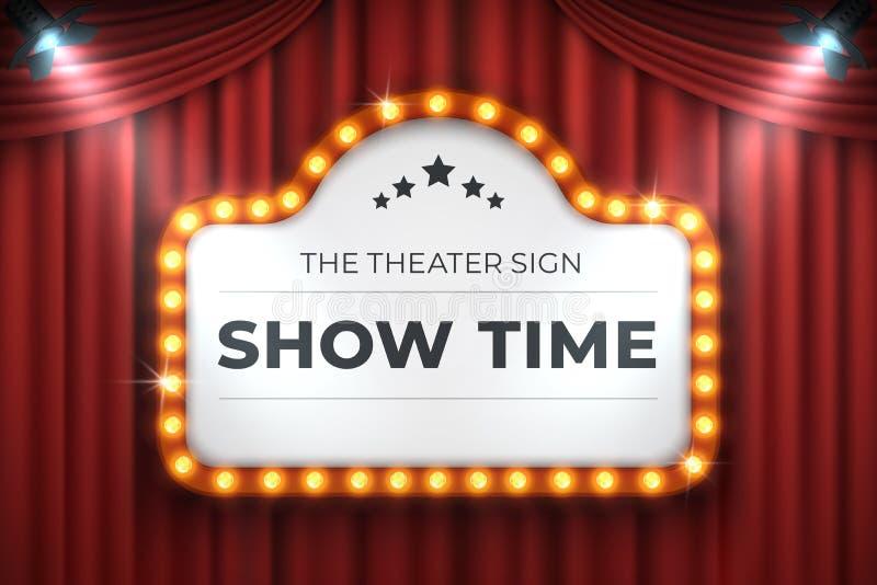 Segno del cinema del teatro Struttura della luce di film, retro insegna della tenda foranea su fondo rosso Tabellone per le affis illustrazione vettoriale