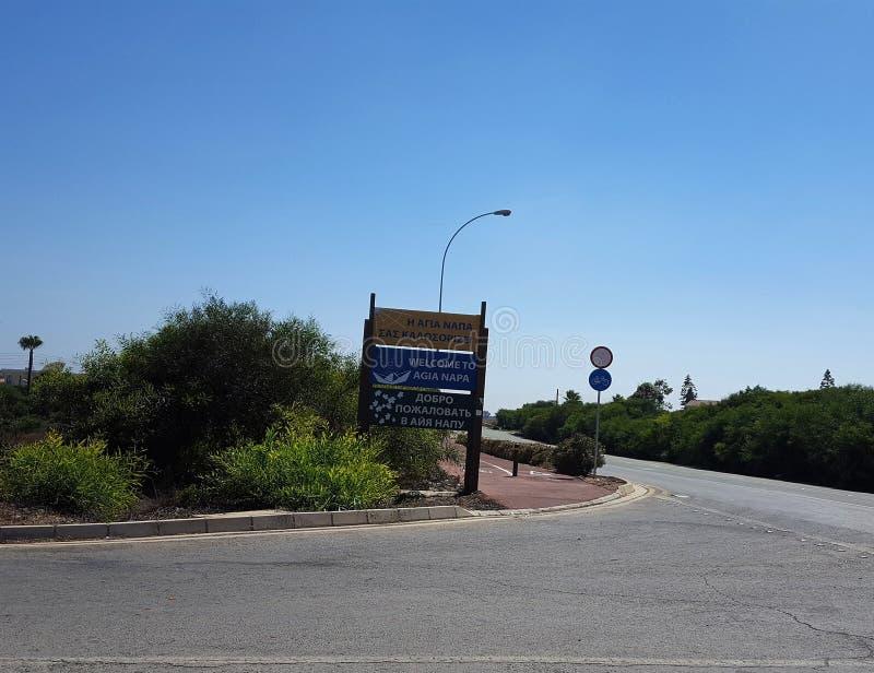 Segno del Cipro Aya Napa Street fotografie stock