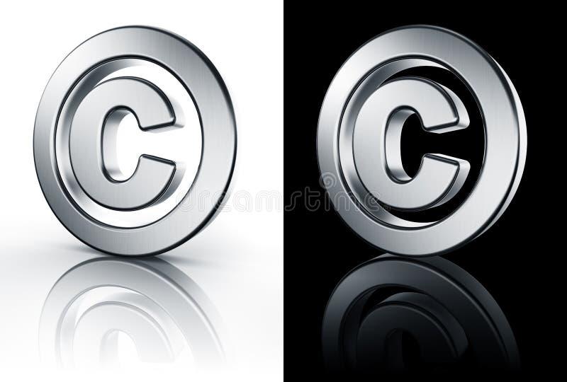 Segno del copyright sul pavimento bianco e nero illustrazione di stock