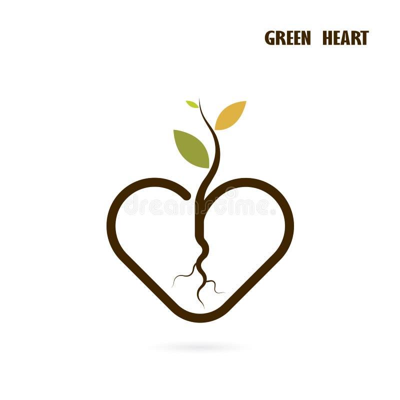 Segno del cuore e piccola icona dell'albero con il concetto verde royalty illustrazione gratis