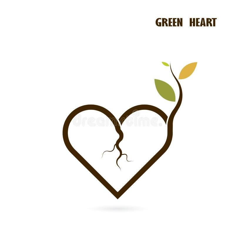 Segno del cuore e piccola icona dell'albero con il concetto verde Cr della natura di amore illustrazione vettoriale