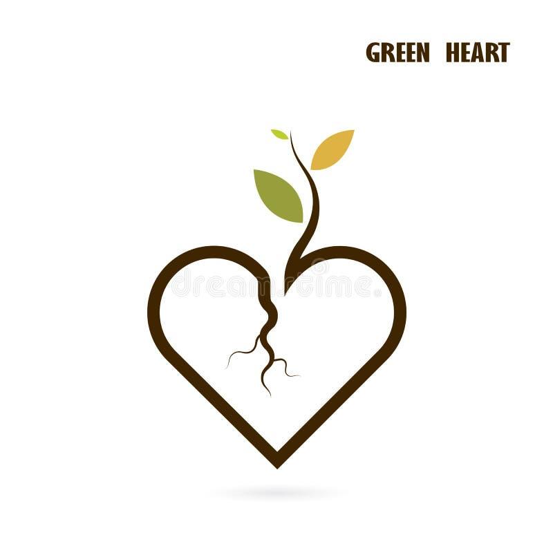 Segno del cuore e piccola icona dell'albero con il concetto verde Cr della natura di amore illustrazione di stock