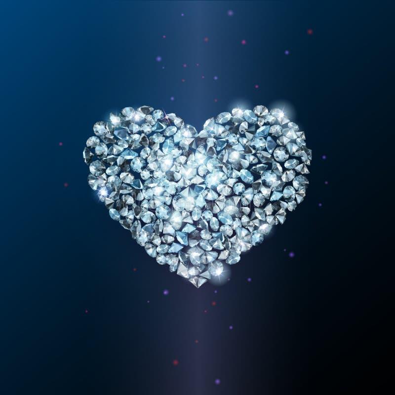 Segno del cuore fatto dei diamanti scintillanti brillanti royalty illustrazione gratis
