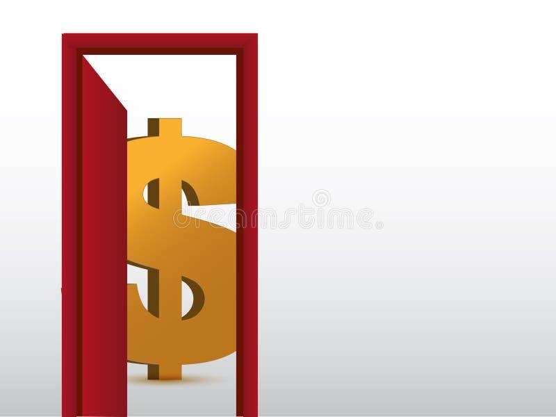 Segno del dollaro all'interno di un disegno dell'illustrazione della stanza illustrazione vettoriale
