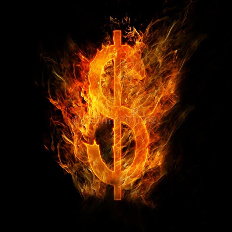 Segno del dollaro del fuoco immagine stock