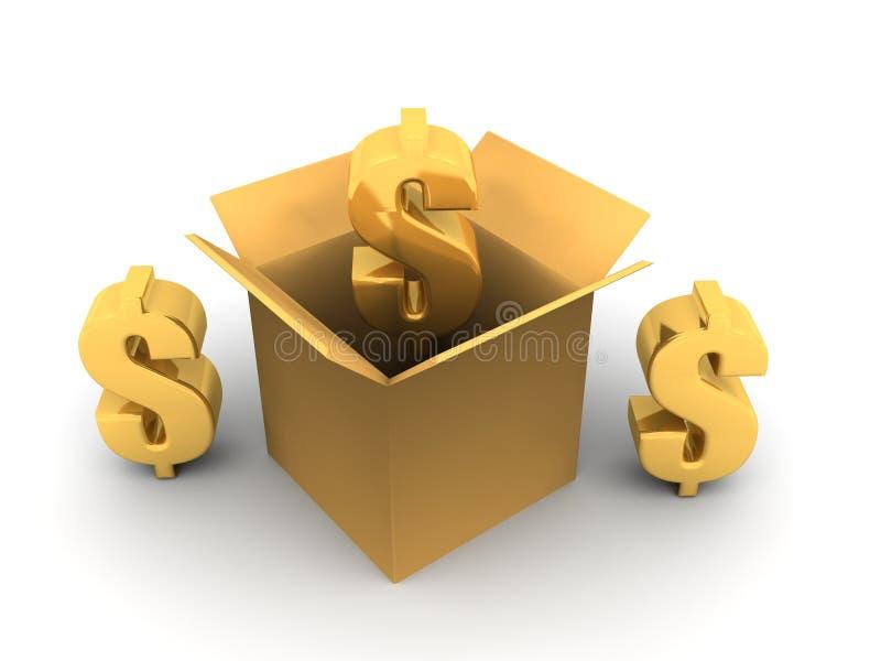 Segno del dollaro dell'oro illustrazione di stock