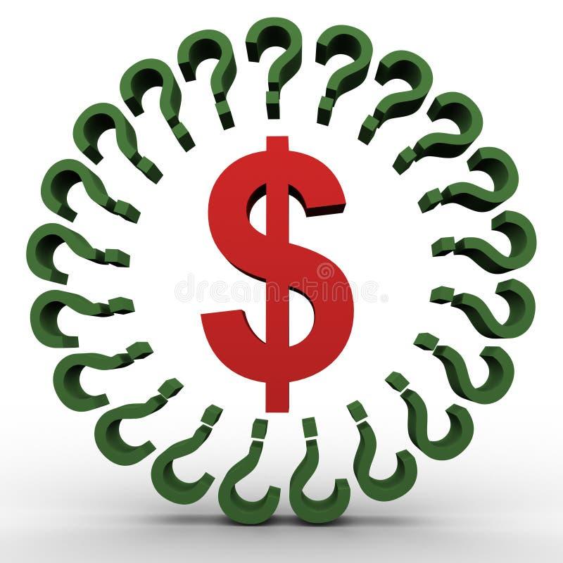 Segno del dollaro e punti interrogativi illustrazione di stock