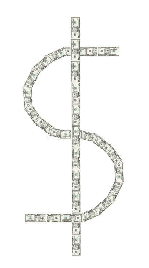 Segno del dollaro fatto da $50 fatture immagini stock