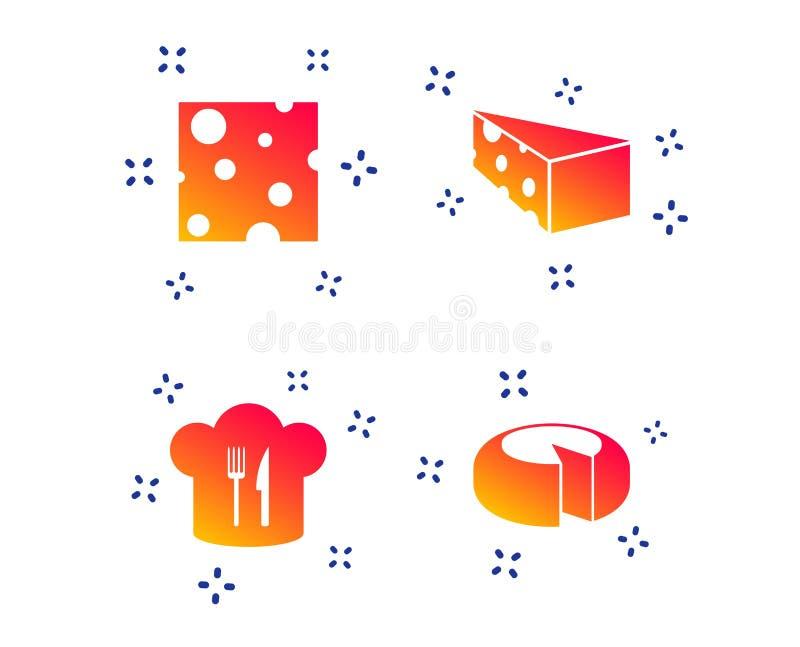 Segno del formaggio Alimento affettato con le icone principali del cappello Vettore illustrazione di stock