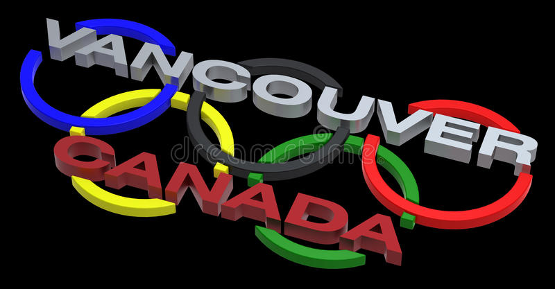 Segno del gioco olimpico di Vancouver isolato sul nero illustrazione vettoriale