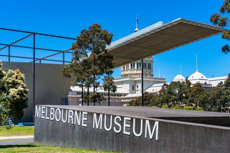 Segno del museo di Melbourne ai motivi del museo fotografie stock libere da diritti