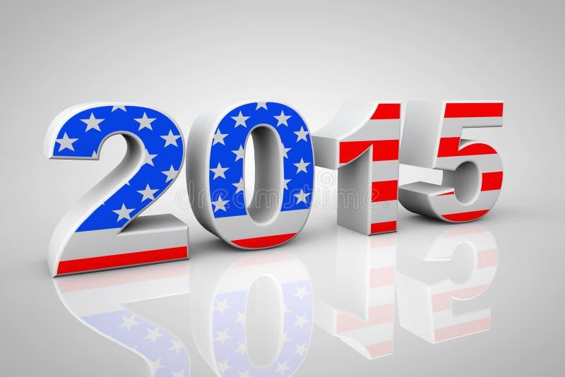 Segno del nuovo anno 2015 come bandiera di U.S.A. illustrazione di stock