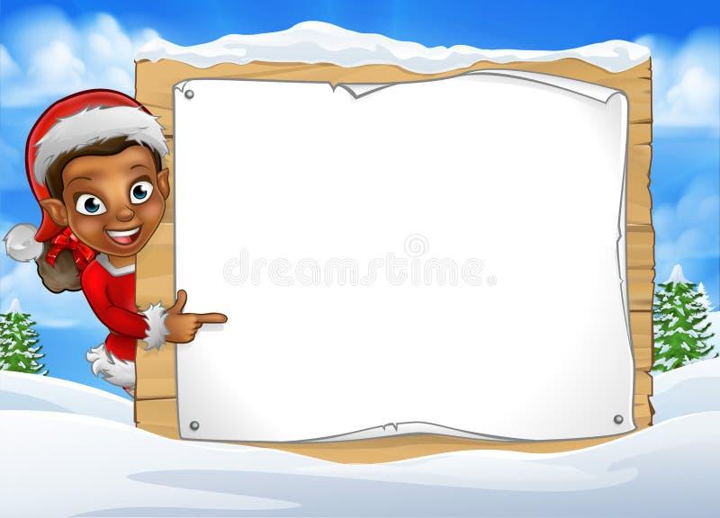 Segno del paesaggio di scena della neve di Elf di Natale royalty illustrazione gratis