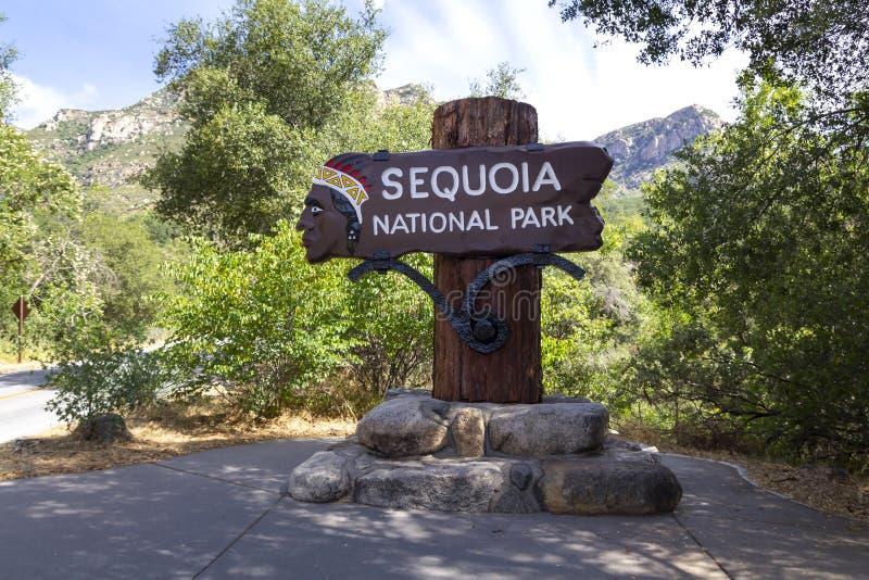 Segno del parco nazionale della sequoia fotografie stock libere da diritti