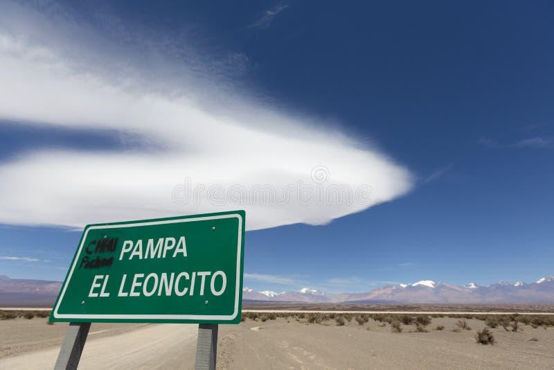 Segno del parco nazionale di EL Leoncito della pampa, San Juan Province fotografie stock
