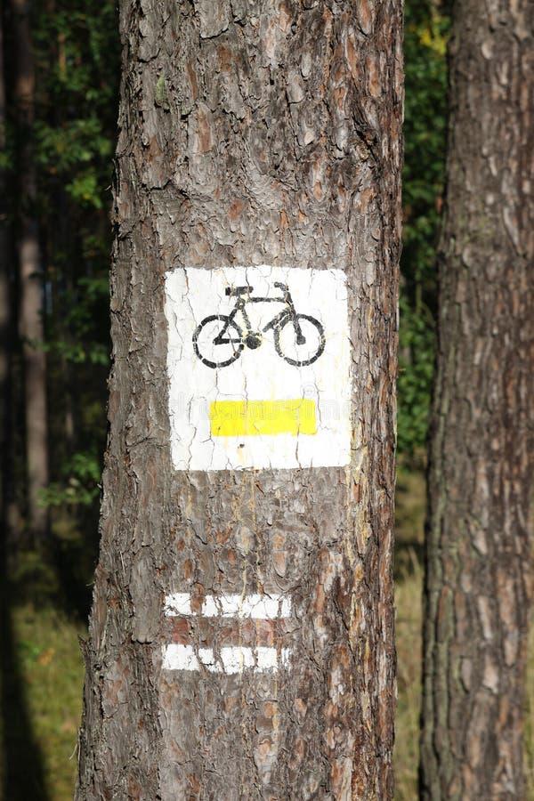 Segno del percorso della bicicletta sull'albero fotografie stock libere da diritti