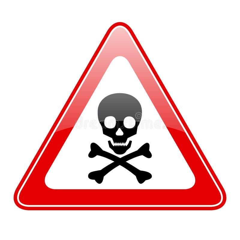 Segno del pericolo del cranio del triangolo illustrazione vettoriale