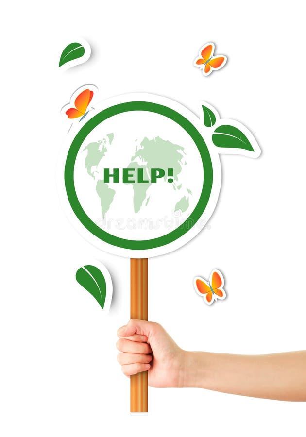 Segno del pianeta di verde di aiuto della tenuta della mano illustrazione vettoriale