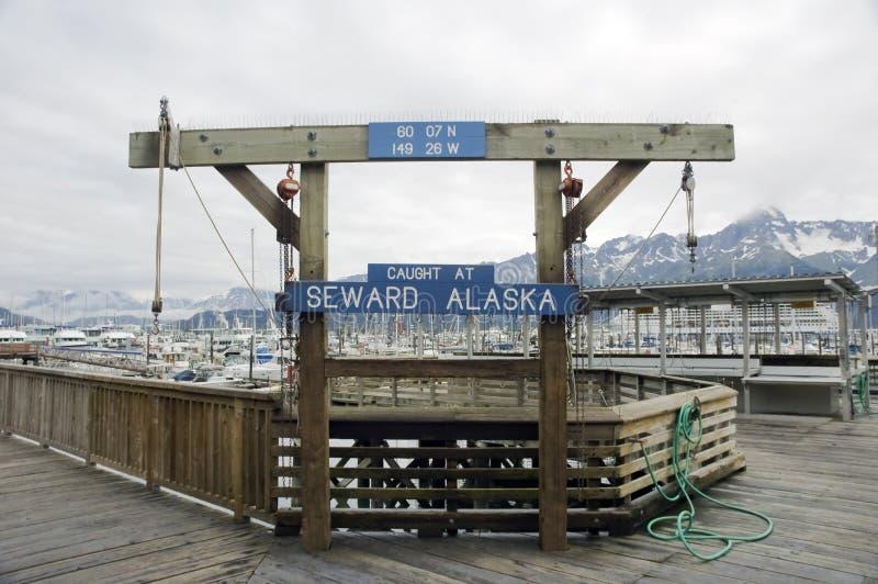 Segno del porto di Seward immagine stock libera da diritti