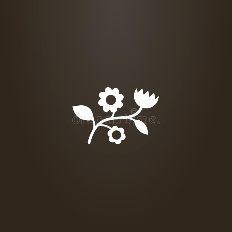 Segno del profilo di vettore di forma del ramo del fiore o del wildflower illustrazione vettoriale
